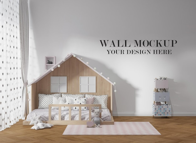 Mockup a parete dietro il letto montessori