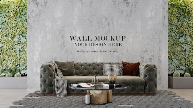 Mockup di parete tra le pareti delle piante