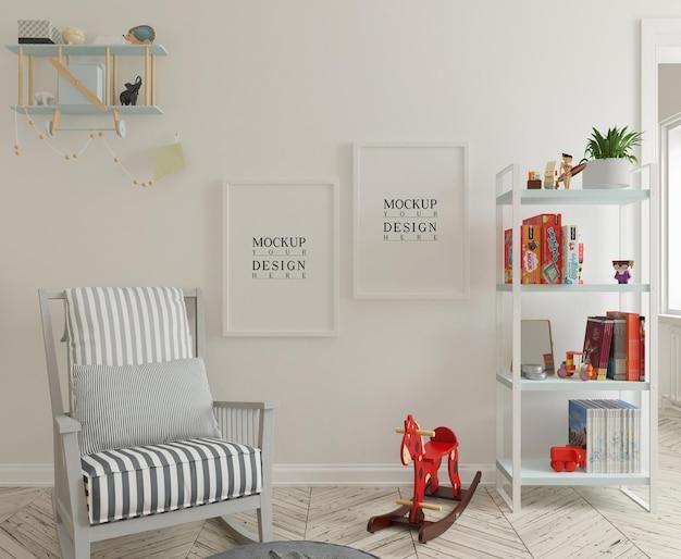 Mockup di parete e mockup di fotogramma poster nella graziosa stanza della scuola materna