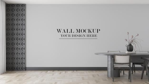 Mockup di parete in scena con sedie e tavolo Psd Premium