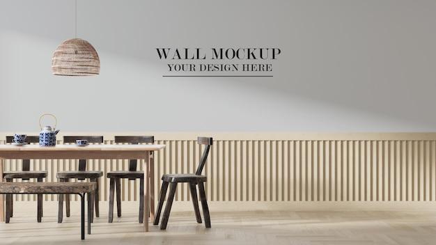 Mockup di parete in scena con mobili in legno