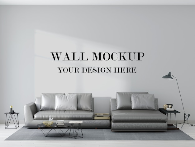 Mockup di parete dietro il divano in pelle argento nella rappresentazione 3d