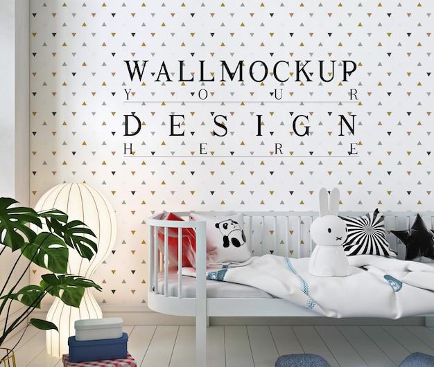 Mockup a muro nella semplice stanza del bambino