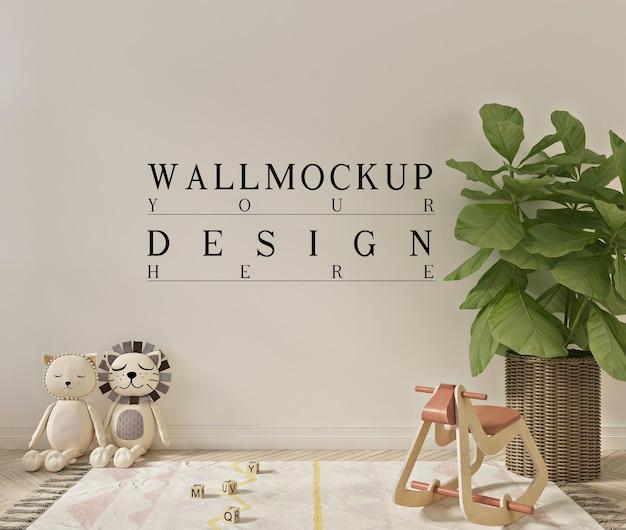Mockup a parete in interni semplici e carini della stanza dei giochi