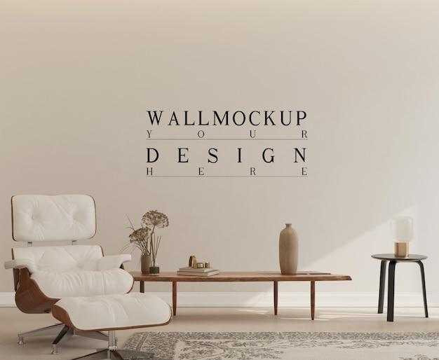 Mockup di parete in interni semplici con poltrona eames