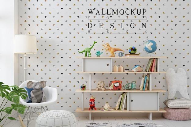 Mockup da parete in una semplice sala giochi