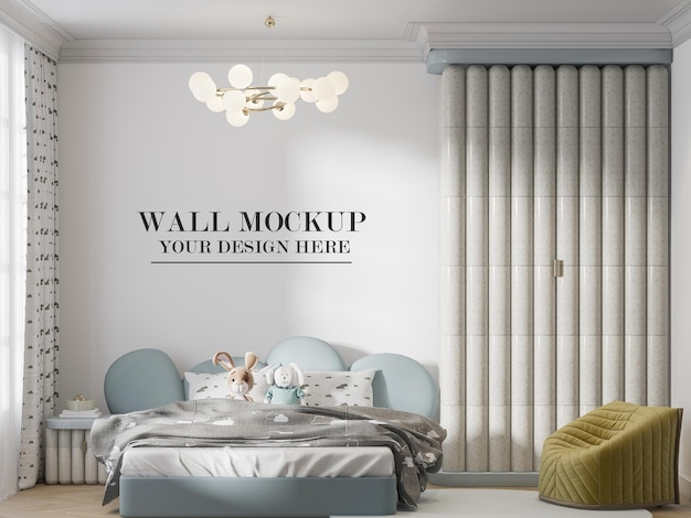 Mockup di parete dietro l'elegante arredamento della camera dei bambini
