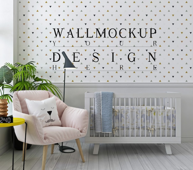 Modello da parete nella camera da letto bianca del bambino con poltrona rosa