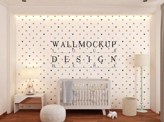 Mockup da parete nella camera da letto del bambino bianco