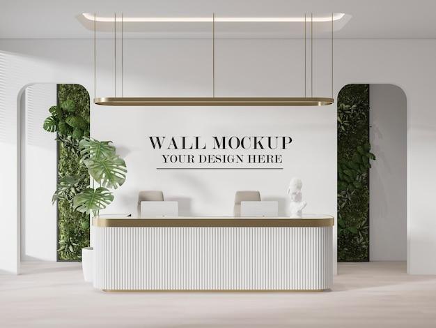 Bancone reception in oro bianco mockup a parete
