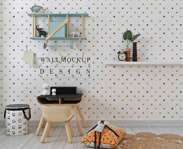 Mockup di parete in camera da letto studio per bambini bianchi