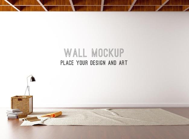 Mockup da parete con libri sul pavimento e lampada da terra