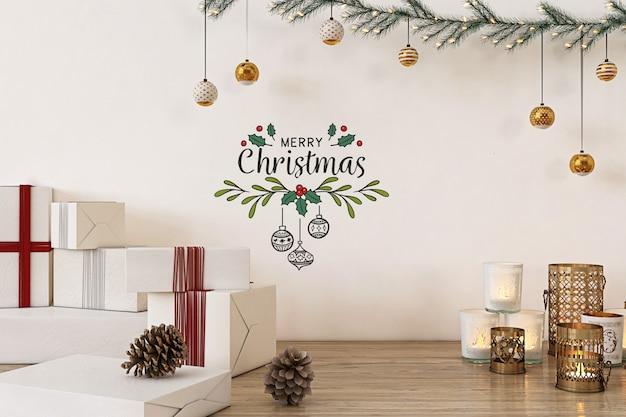 Mockup da parete con decorazioni natalizie e regali