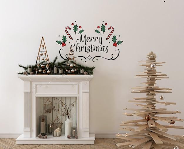 Mockup da parete con albero di natale in legno, decorazioni e regali