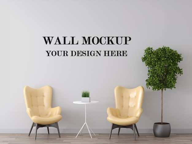 Mockup di parete dietro le poltrone gialle