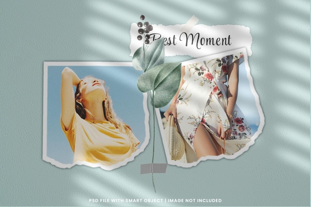 Mockup di moodboard da parete collage di carte con cornice per foto strappata psd premium