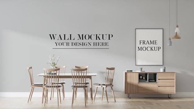 Mockup di parete e poster nella scena di rendering 3d