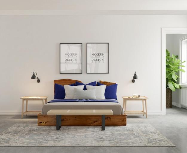 Mockup di parete e poster nella moderna camera da letto 3d rendering