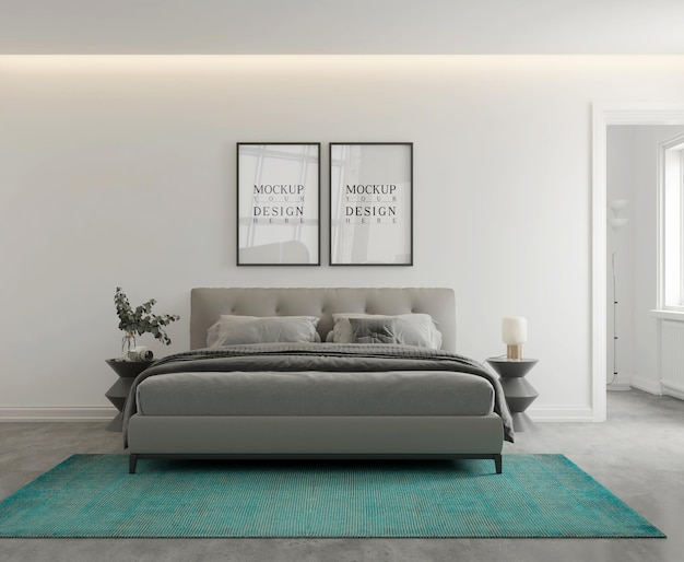 Mockup di parete e poster nella moderna camera da letto monocromatica 3d rendering