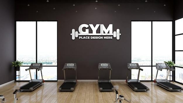 Mockup del logo sportivo da parete nella moderna palestra