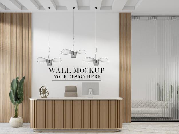 Modello di parete dietro il banco della reception in legno