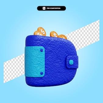 Portafoglio 3d rende l'illustrazione isolata