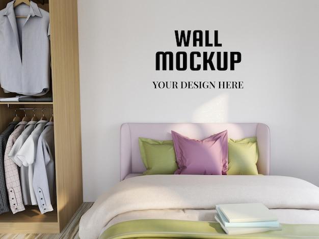 Mockup di carta da parati nella camera da letto moderna