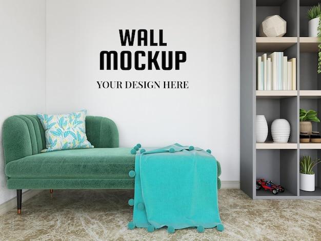 Mockup di carta da parati nel soggiorno moderno
