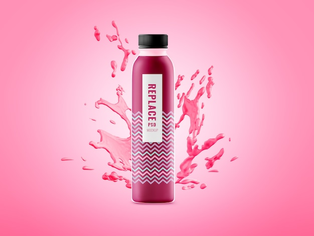 Mockup di pubblicità splash minimo bottiglia d'acqua