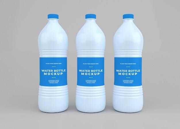 Progettazione del modello della bottiglia d'acqua nella rappresentazione 3d isolata
