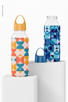 Bottiglie d'acqua con mockup di maniche in silicone, prospettiva
