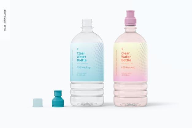 Bottiglie d'acqua con tappo sportivo mockup, aperte e chiuse