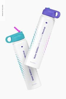 Bottiglie d'acqua con coperchio in paglia mockup