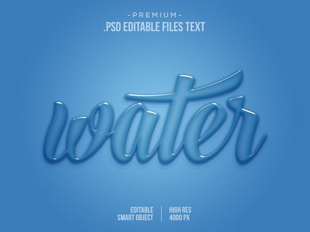 Effetto di testo modificabile dell'acqua, effetto di testo dell'acqua 3d, effetto del testo dell'acqua blu dell'acqua di goccia liquida