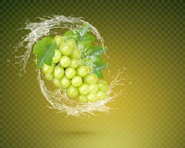 Spruzzi d'acqua sull'uva rossa fresca con foglie isolate su sfondo verde. psd premium