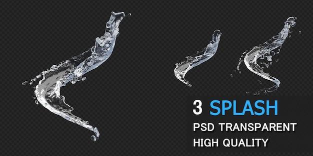 Spruzzi d'acqua con goccioline nel rendering 3d isolato