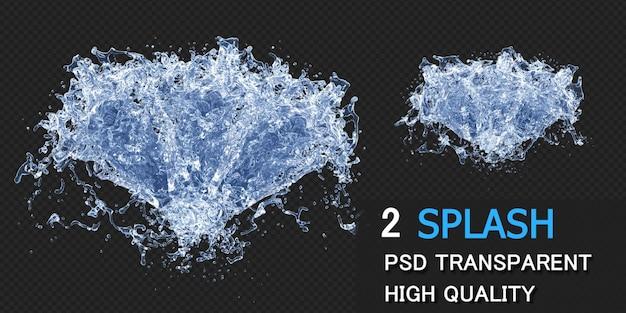 Spruzzi d'acqua con goccioline in rendering 3d isolato