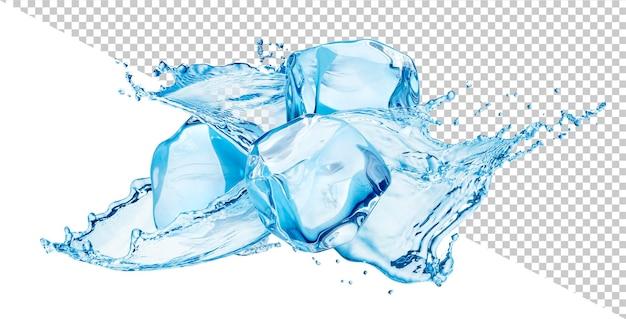 Spruzzi d'acqua con cubetti di ghiaccio isolati