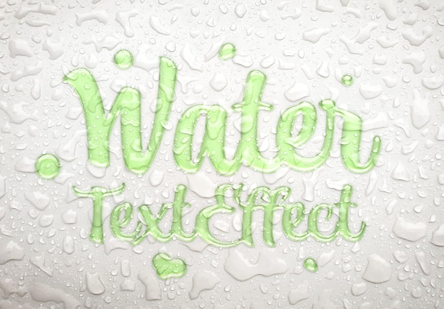 Effetto water text con gocce di pioggia