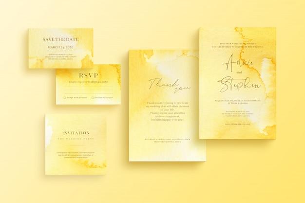 Modello dell'invito dell'acquerello, insieme della cancelleria di nozze