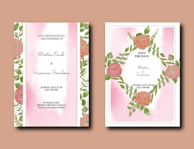 Modello di biglietto d'invito per matrimonio ad acquerello con decorazione di fiori e foglie di peonia