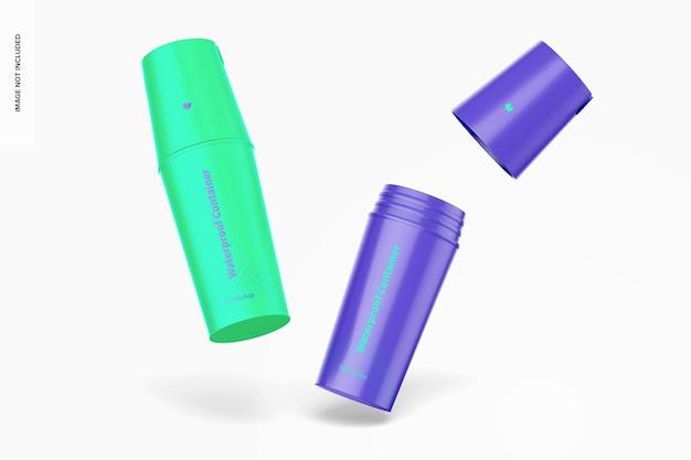 Mockup di bottiglia per contenitore asciutto impermeabile, che cade