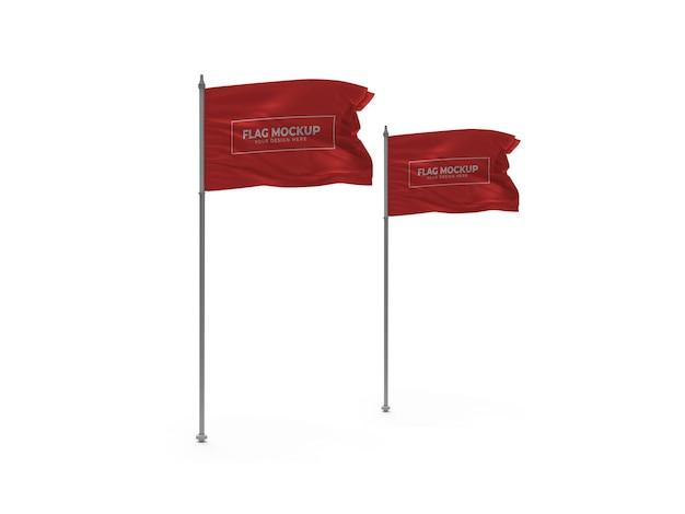 Sventolando la bandiera 3d mockup isolato