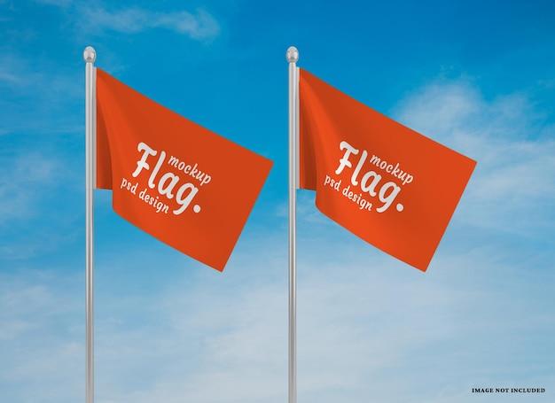 Sventolando bandiera mockup design isolato design isolato
