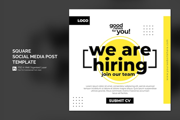 Stiamo assumendo un banner quadrato di posti vacanti o un modello di post sui social media