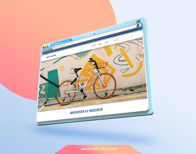 Mockup 3d dell'interfaccia utente del browser web con colori pastello