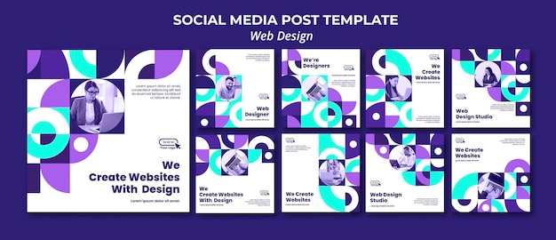 Modello di post sui social media di web design