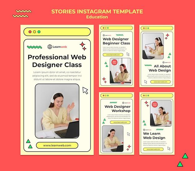 Modelli di storie sui social media per workshop di web design