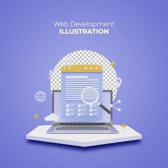 Concetto di sviluppo web nel design 3d rendering creativo per banner web