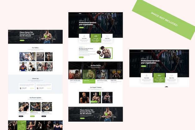 Design a tema web, modello psd. concetto di fitness e palestra.